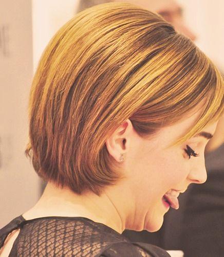 Emma Watson's short hair (back) via Tumblr