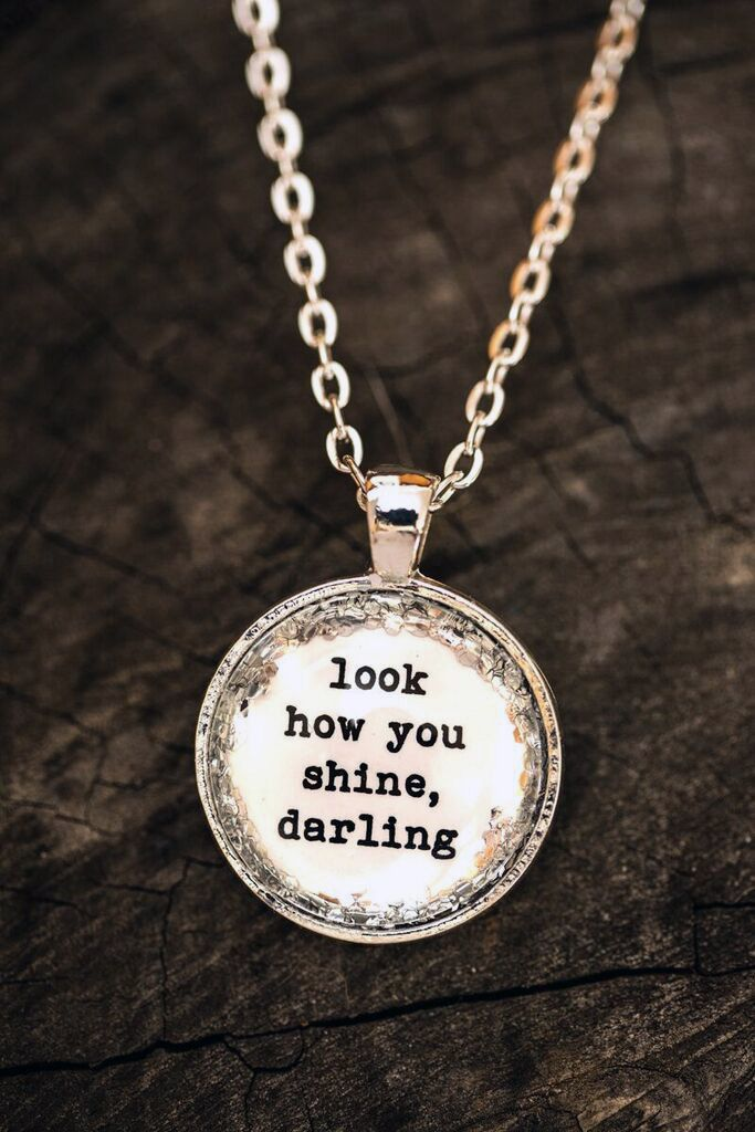 bd5ddea051a3 FREE SHIPPING - Glitter Quote Necklace - Silver Glitter Sparkles - Look How  You Shine