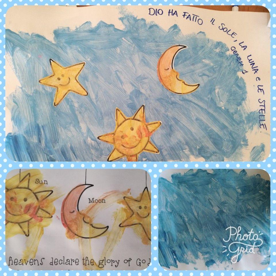 Dio ha fatto il sole, la luna e le stelle. Genesi 1 (4° giorno) Materiali: fogli, tempere, stampe di sole, luna e stelle. Età: dai 12 mesi