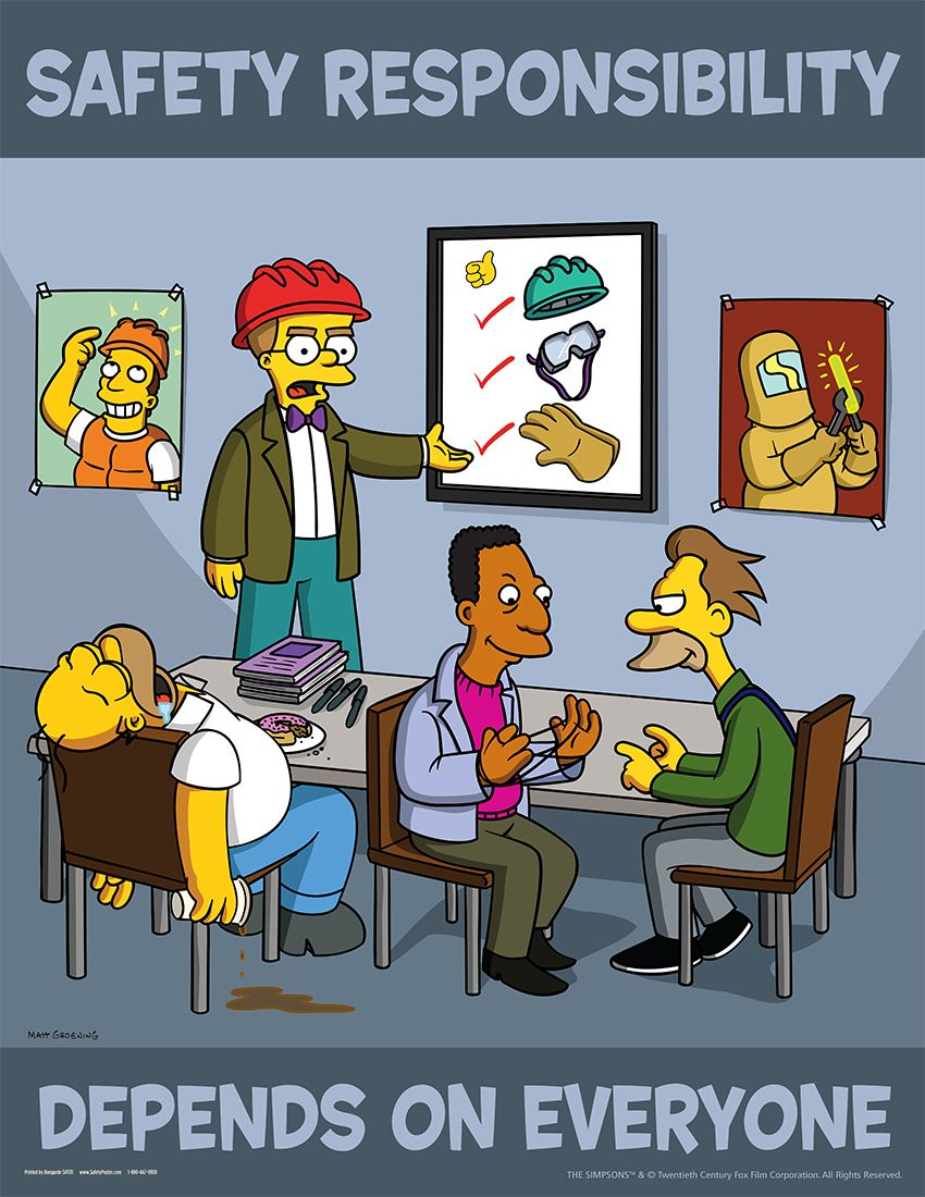 Kitchen safety poster project - Simpsons Safety Responsibility Depends On Everyone S1131
