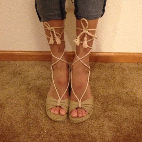 Tie Up Cream Wedges Tie up shoes are very in right now! Perfect for summer. Great condition. If you don't like the price, but like the item feel free to make me a reasonable offer. american living Shoes Wedges