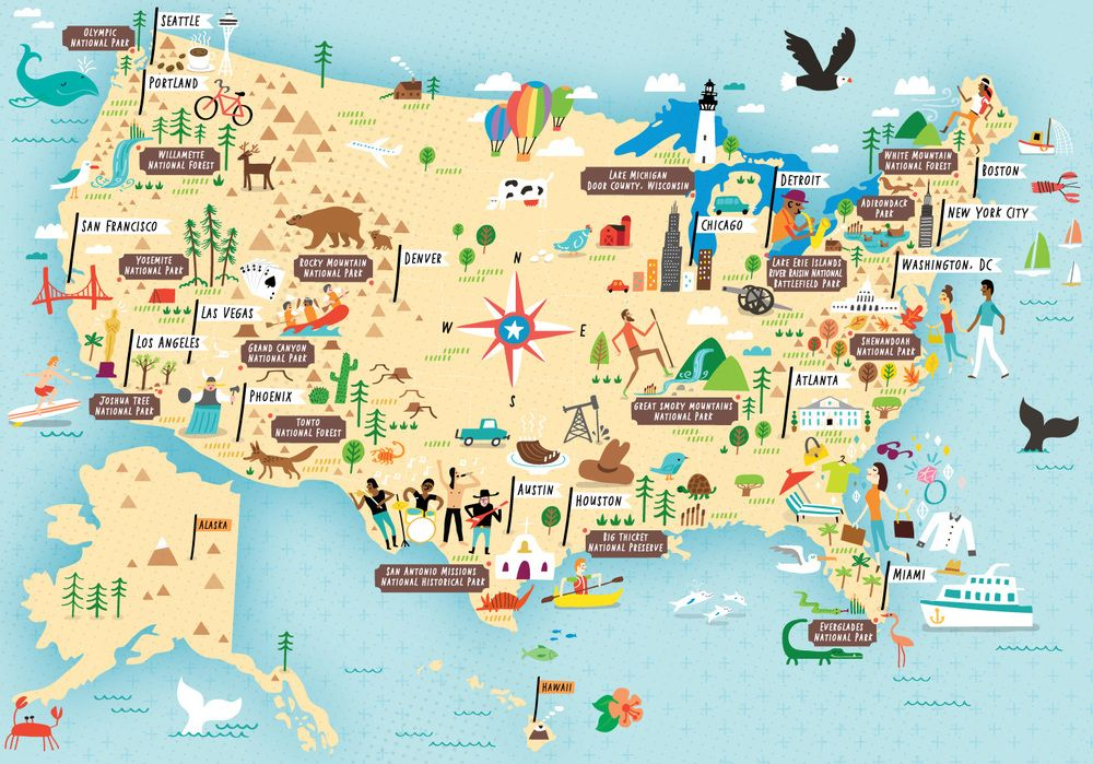 Illustrated map of US National Parks by Nate Padavick (idrawmaps.com ...