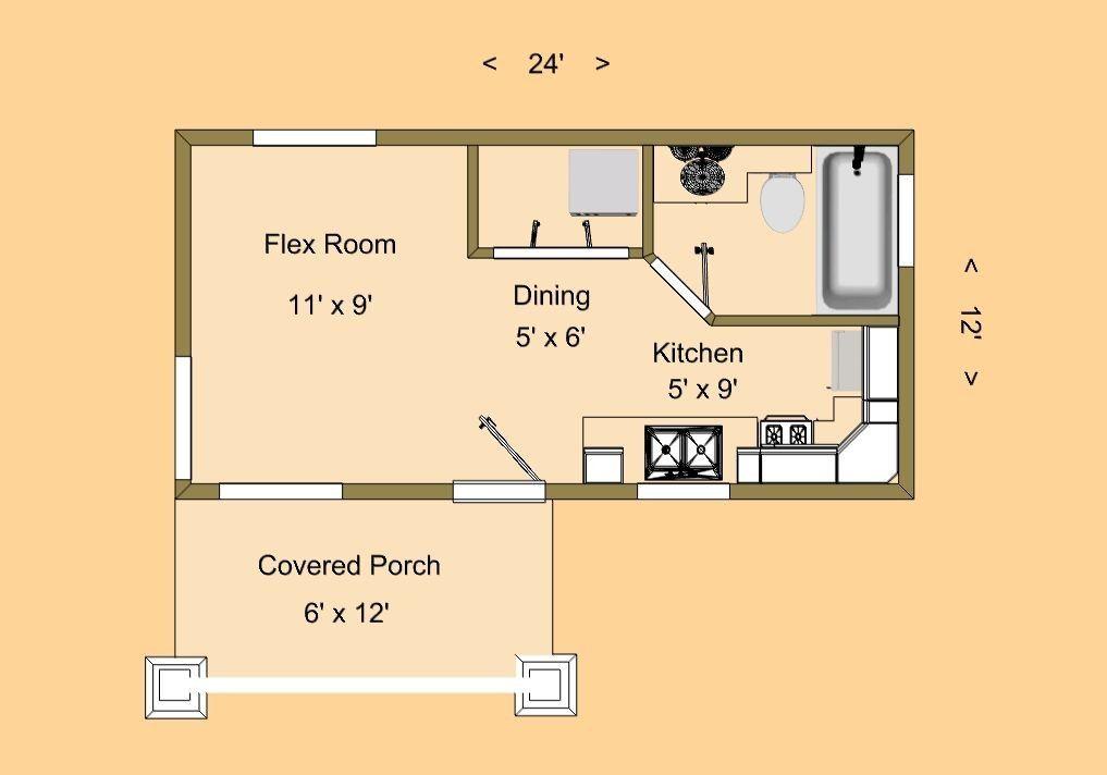12 24 Tiny House Plans New Cozy Home Plans Thimble Peak 288 Sq Ft Kristin Plucker Of 12 24 Tiny House Plans Inspirati Plantas De Casas Floor Plan Plano De Casa
