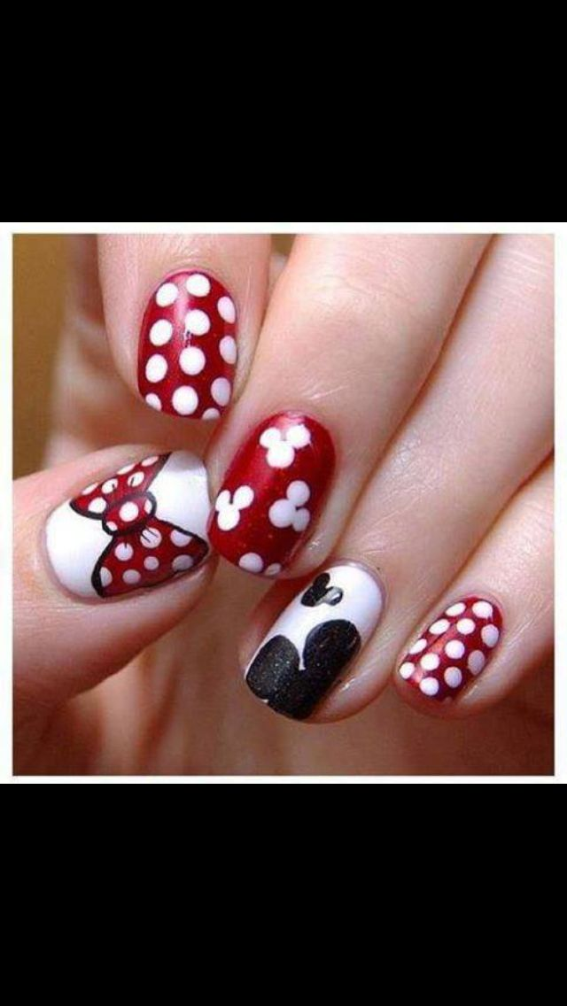 Minnie Mouse nails   Nails   Pinterest   Diseños de uñas, Diseños ...