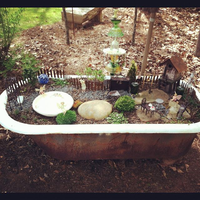 Our Fairy Garden In Our Old Cast Iron Tub Garden