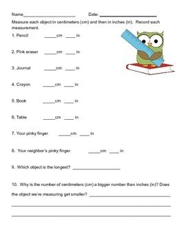 Measurement Worksheet (Inches and centimeters) | Math ...