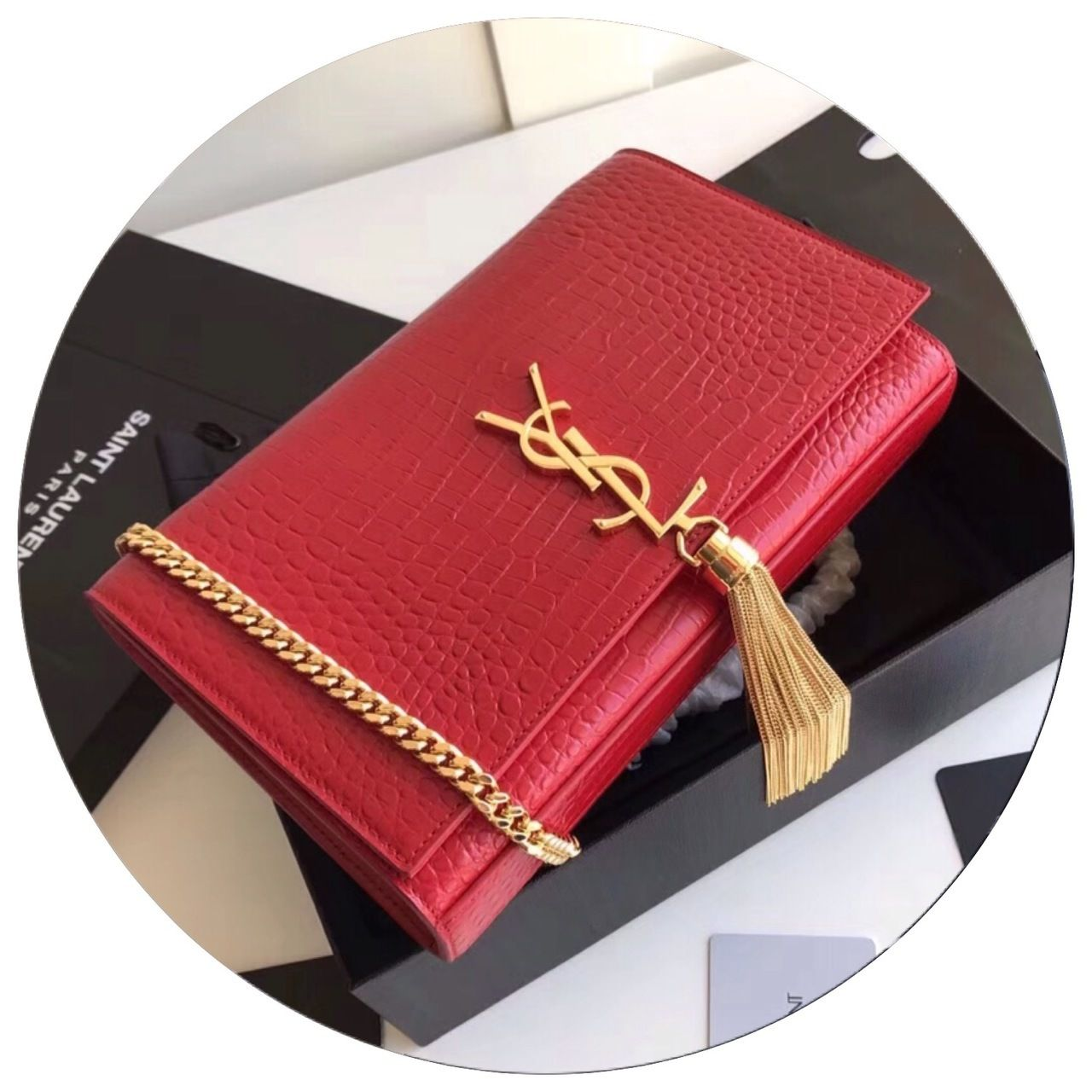 0dad524fe38 Saint Laurent CLASSIC MEDIUM KATE TASSEL SATCHEL IN RED CROCODILE EMBOSSED  SHINY LEATHER WITH GOLD HARDWARE - Bella Vita Moda #ysl bag #ysllover ...