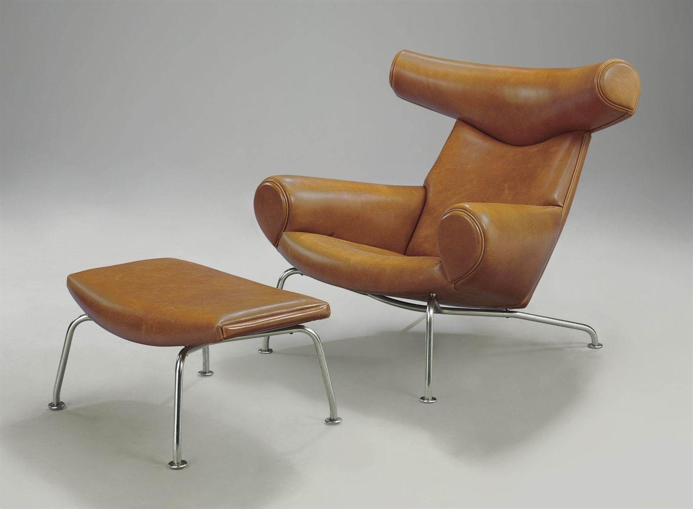Hans J Wegner for Johannes Hansen Ox lounge chair and Ottoman
