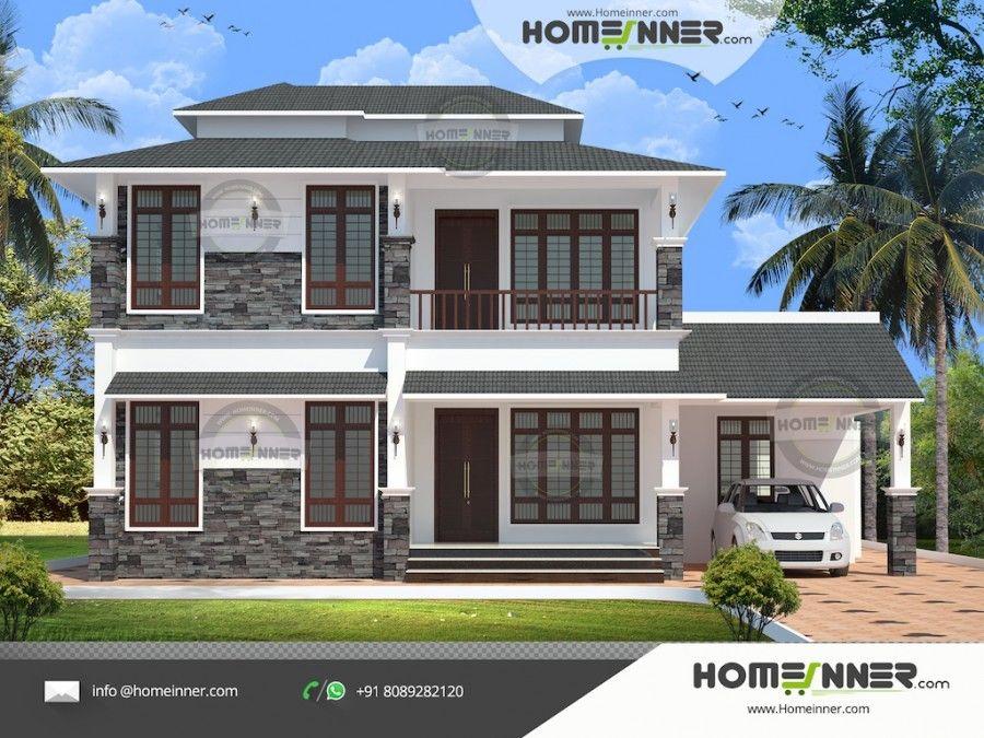 2278 Sqft 3 Bedroom Two Storey House Designs India House Design Simple House Design Free House Plans
