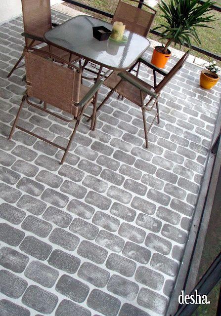 Painting Concrete Patio Cement Floor Stencil