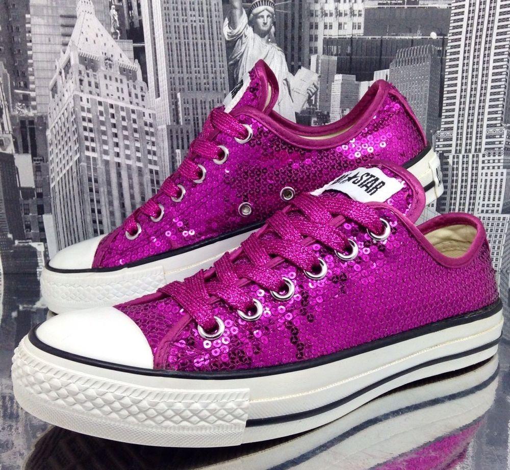 Converse All Star Womens Sequin Pink Glitter Shoe Size 5 Girls Dance Bridal  37.5 #Converse