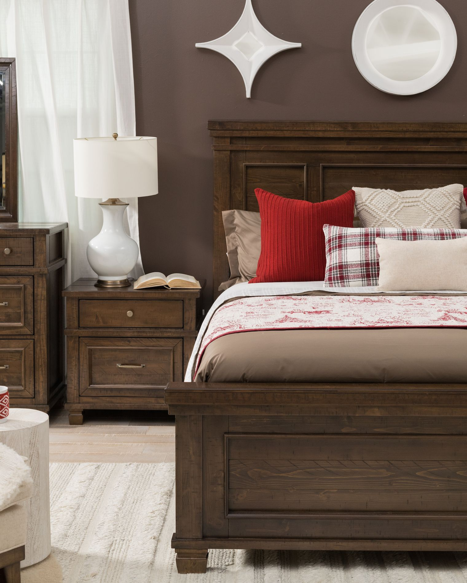 62'' Transitional Panel Bed in Brown Panel bed, Bed