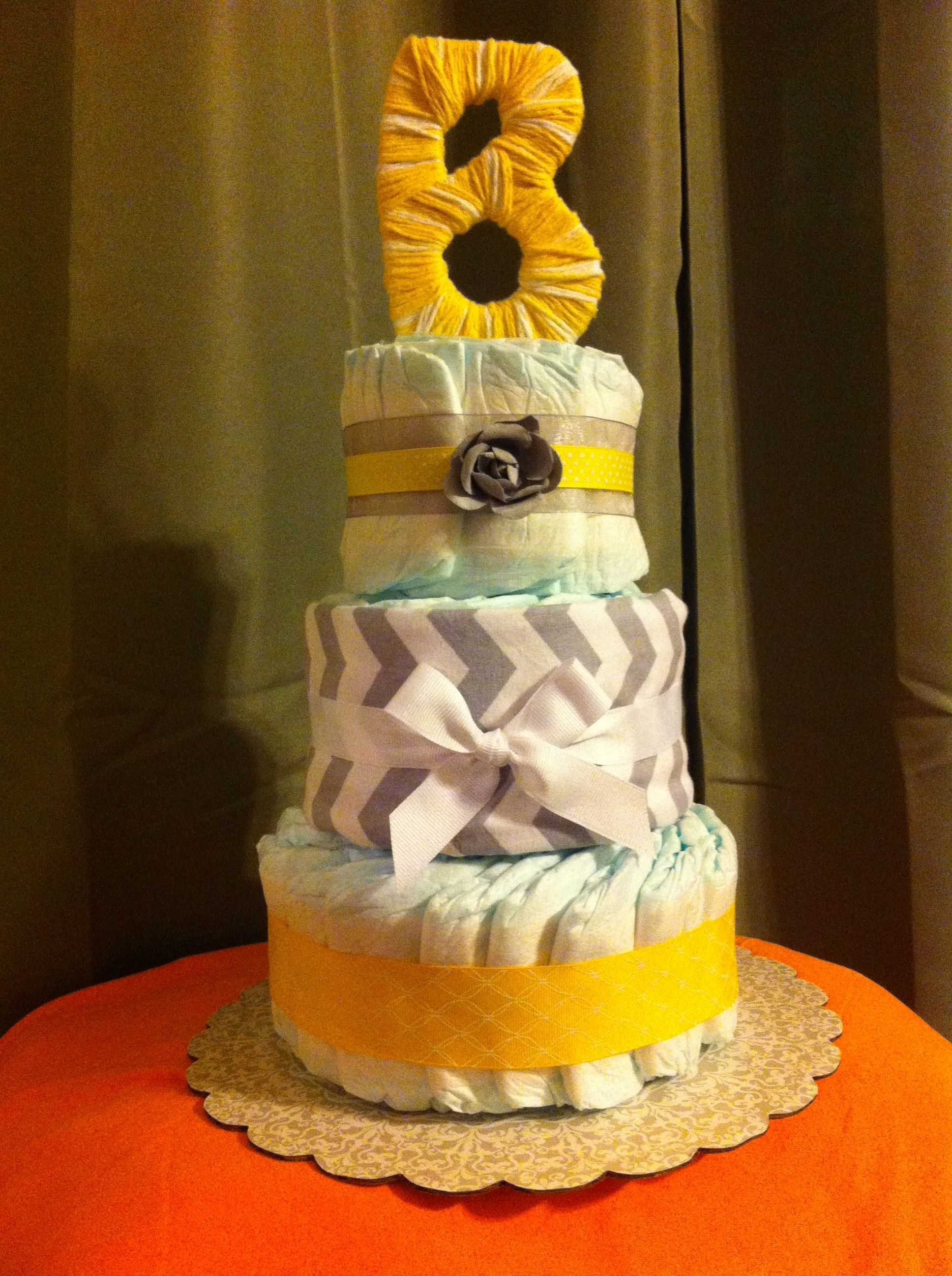 Baby B yellow & gray diaper cake