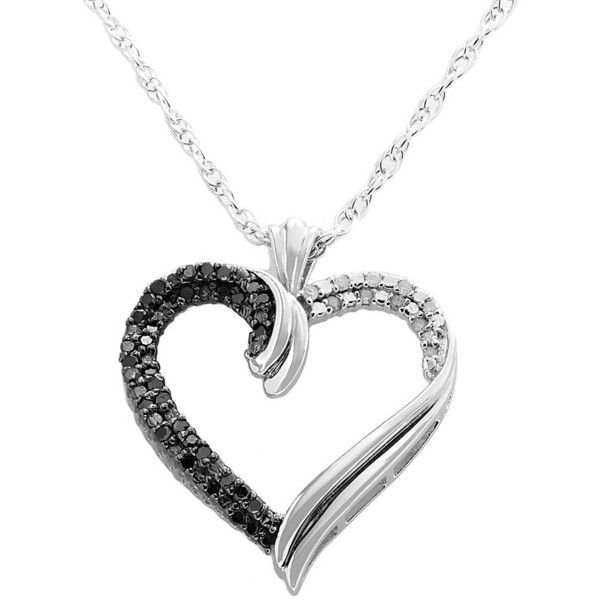 Sterling silver 14 ct tw black and white diamond heart pendant sterling silver 14 ct tw black and white diamond heart pendant mozeypictures Choice Image