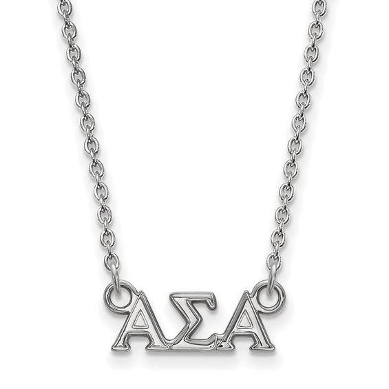 Zales Green Enamel Alpha Sigma Tau Sorority Necklace in Sterling Silver KUSiSN
