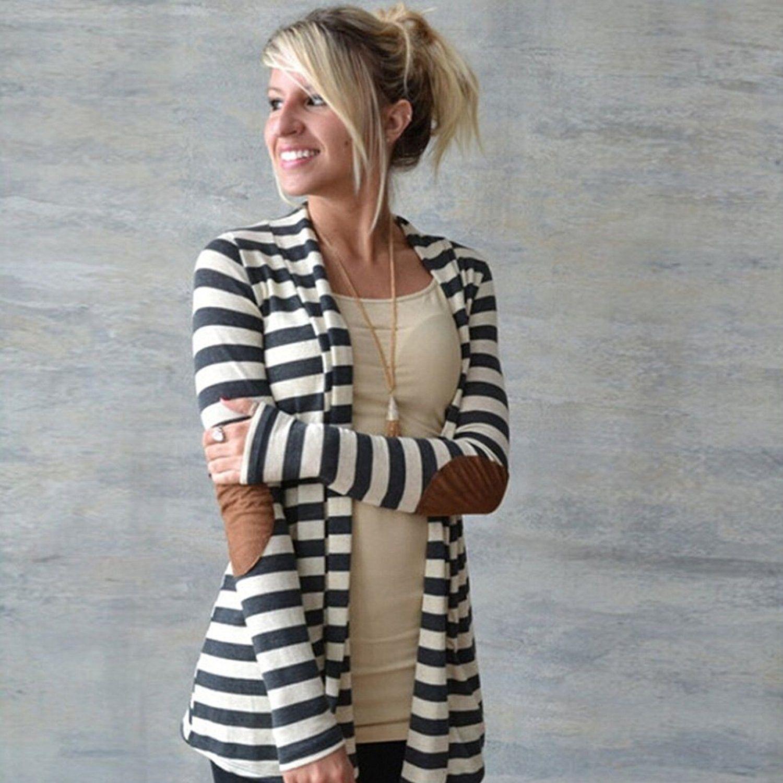 fashion frauen strickjacke flicken blazer gestreift damen. Black Bedroom Furniture Sets. Home Design Ideas