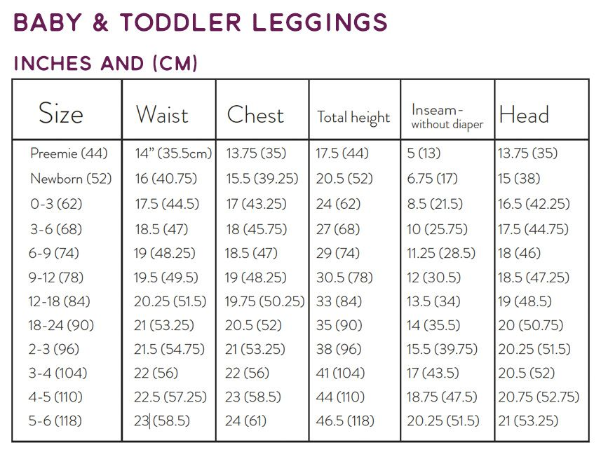 Baby Leggings by Brindille and Twig Baby leggings, Chart and Babies - diamond size chart template