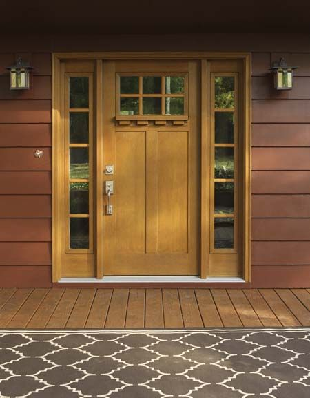 Clopay Craftsman Collection Stained Fiberglass Entry Door With Dentil Shelf  And Satin Nickel Handle Set.