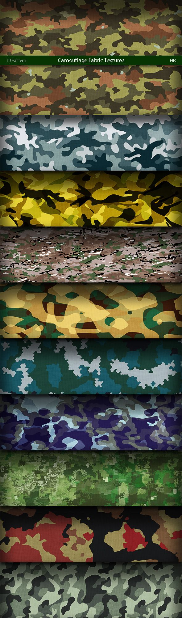 Camouflage Fabric Patterns Textures Fills Patterns