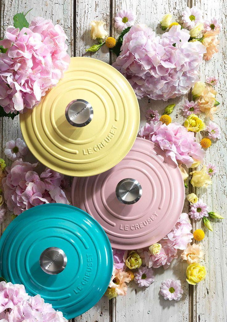 Le Creuset Bloom Collection want!! Pastel kitchen