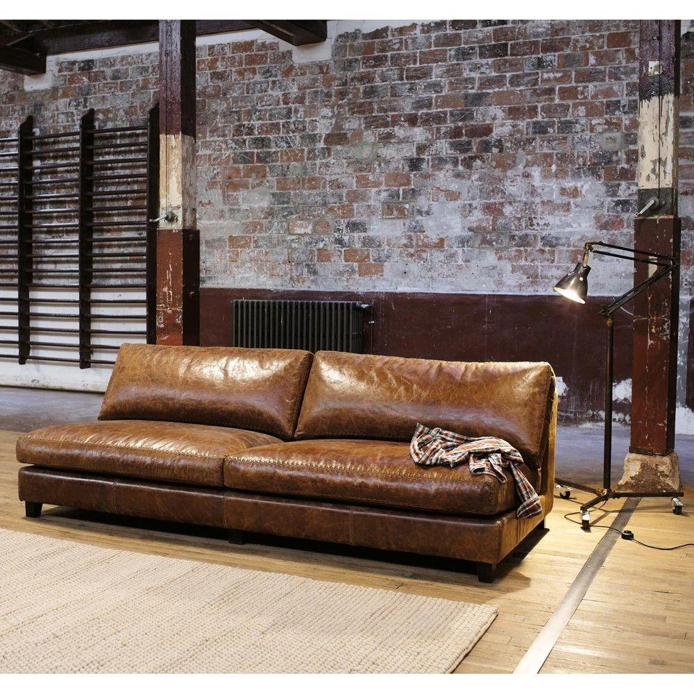 Vintage Sofa 2 3 Sitzer aus Leder braun Nevada