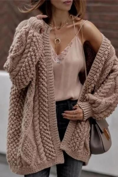 Photo of Casual Loose Knit Twist Cardigan Coat
