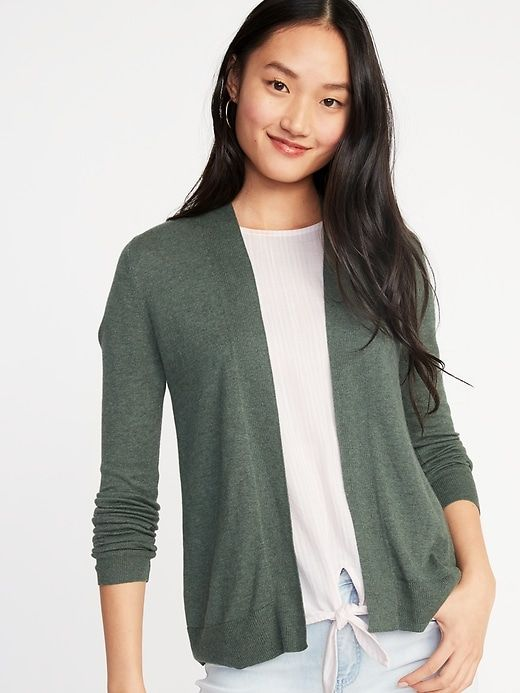 fa4e48c97 Old Navy Women's Short Open-Front Sweater Olive Through This Big And Tall  Size S