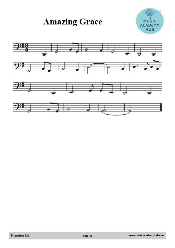 Amazing Grace for Cello and other Bass Clef instruments Free Music