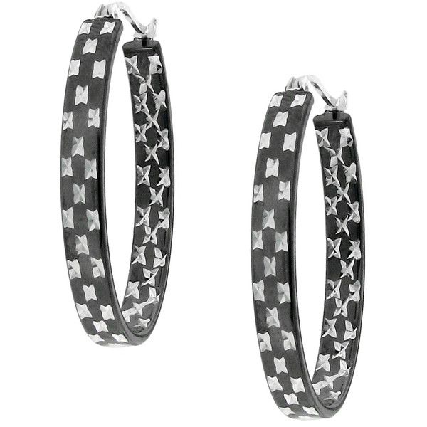Hematite-plated Sterling Silver Etched Flat Hoop Earrings ($35) ❤ liked on Polyvore featuring jewelry, earrings, etched jewelry, flat hoop earrings, sterling silver jewellery, hoop earrings and polish jewelry