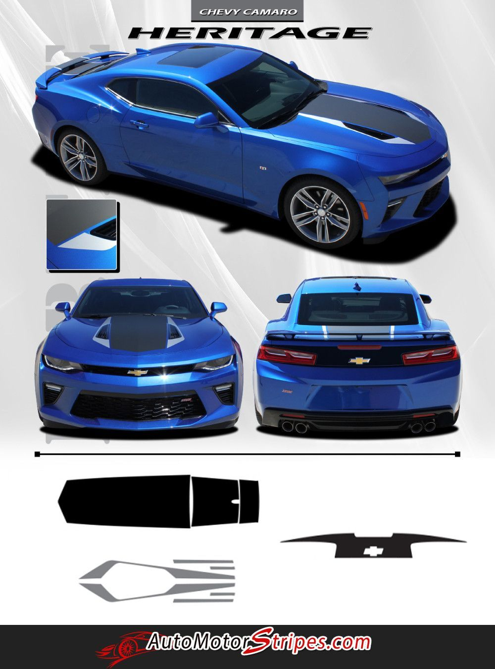 2016 2017 2018 chevy camaro 50th anniversary heritage indy 500 style center wide hood trunk spoiler rally racing 3m stripes kit fits ss rs v6