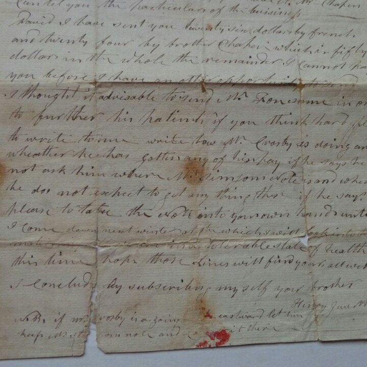 Sold Original Jewett Family Letter From January 15 1800
