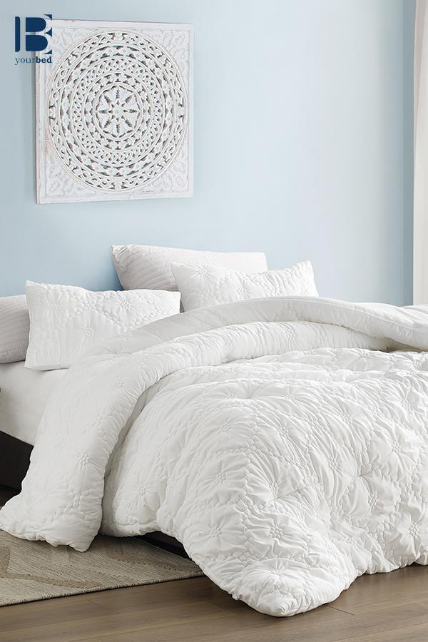 Beautiful King Xl Bedding Decor Textured Farmhouse Morning White