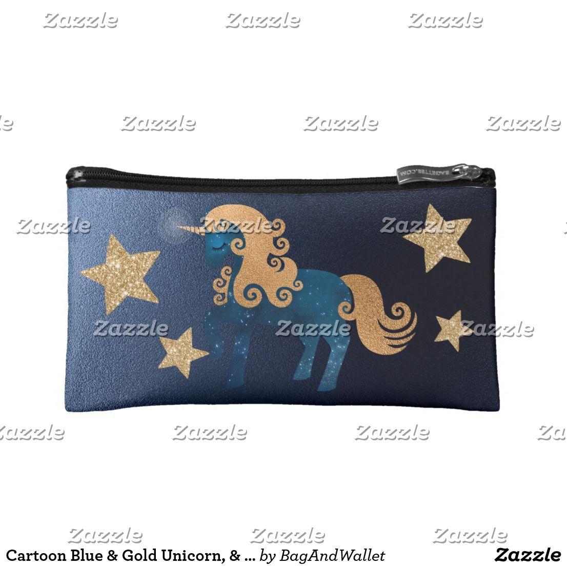 9f1432f1e0 Cartoon Blue   Gold Unicorn