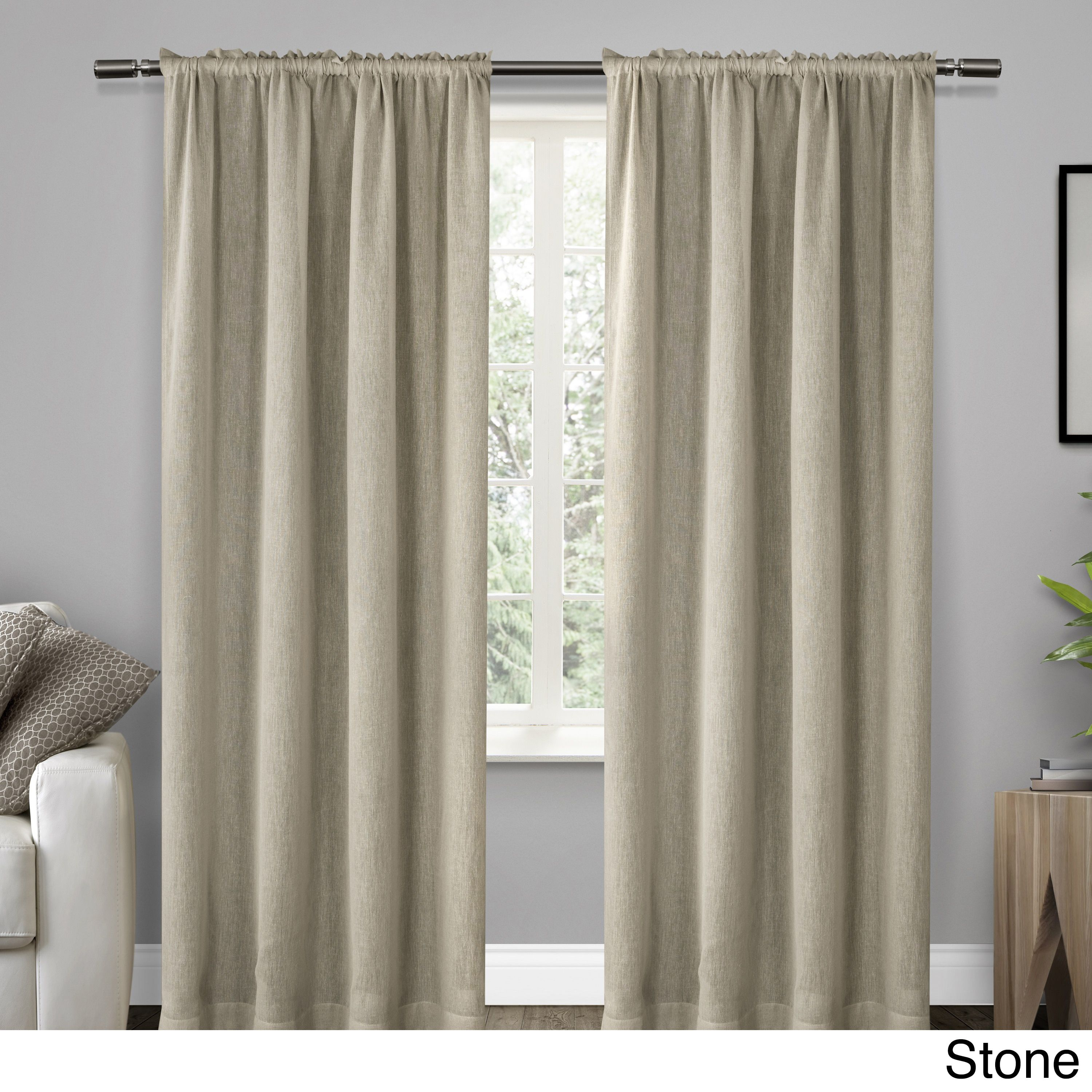 ATI Home Belgian Textured Rod Pocket Curtain Panel Pair (84 Inches ... for Off White Curtains Texture  55nar