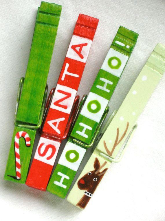 Qué os parece pintar unas pinzas para decorar la Navidad? #navidad ...