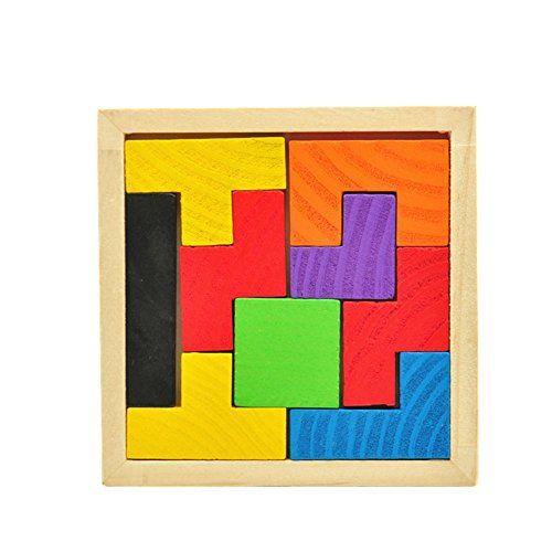 Wooden Tangram Brain Teaser Jigsaw Puzzle Educational Developmental Kids Toy