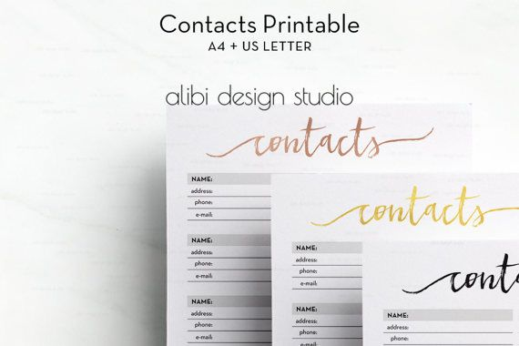 a4 printable address book contacts printable contacts page