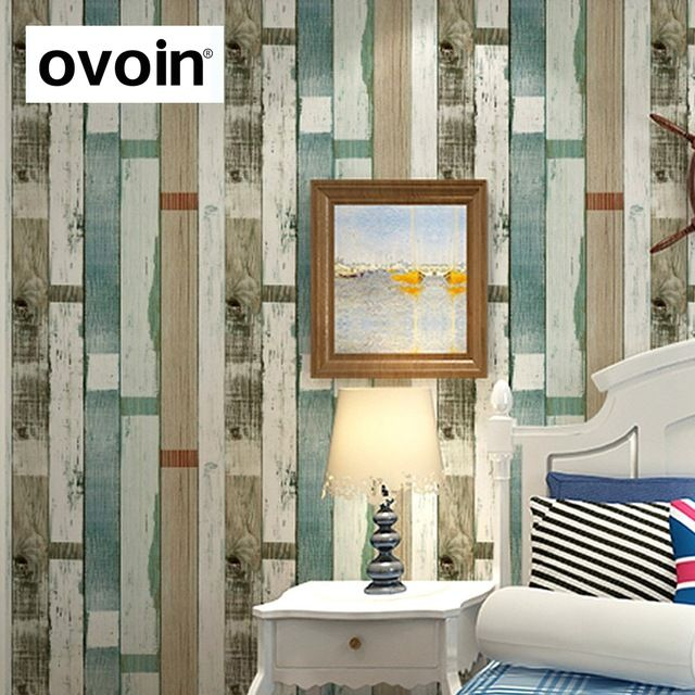 Designer Rustic Embossed Wood Panel Wallpaper Vintage Stripe Feature Wall  Paper Roll Bedroom,living Room Part 57