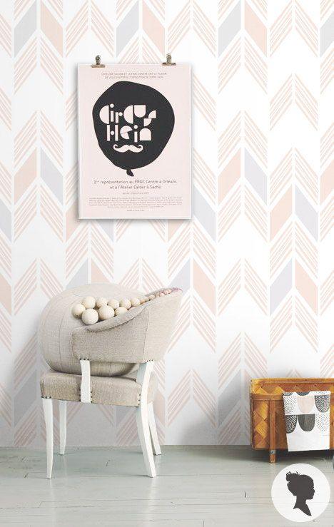 Aztec Herringbone Pattern Peel And Stick Wallpaper Z050 Home Pastel Interior Wall Design
