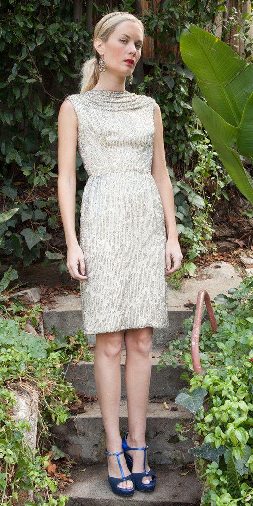 Silver Beaded Vintage Sparkle Dress