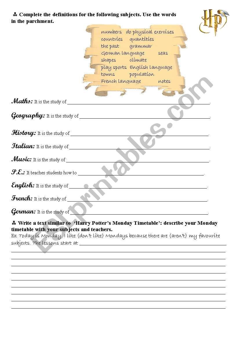 Harry Potter S School Timetable Harry Potters School Timetable School Timetable Study Of Geography School [ 1169 x 821 Pixel ]