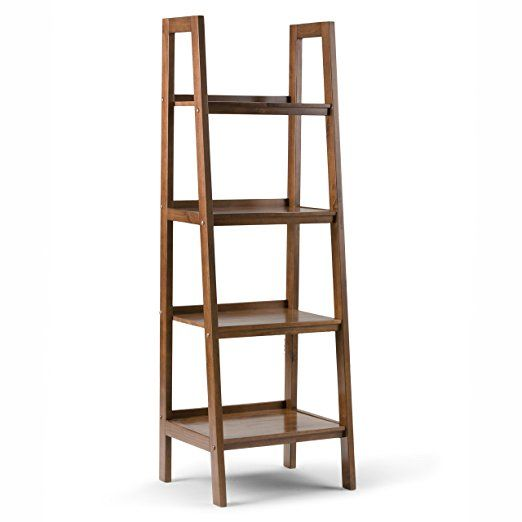 Simpli Home Sawhorse Ladder Shelf Medium Saddle Brown Ladder Bookcase Ladder Shelf Wood Ladder Shelf