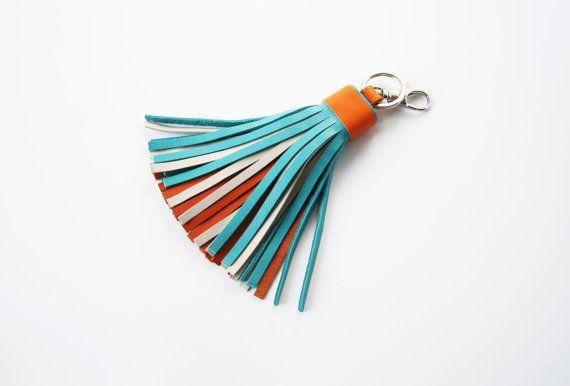 Leather Tassel Key Chain Turquoise Orange Bag Charm Multicolor Tassel by SmArtAnna