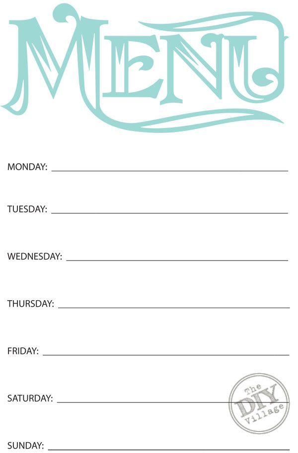 Free Printable Weekly Menu Planner The Diy Village Weekly Menu Planners Menu Planners Free Printable Menu Template