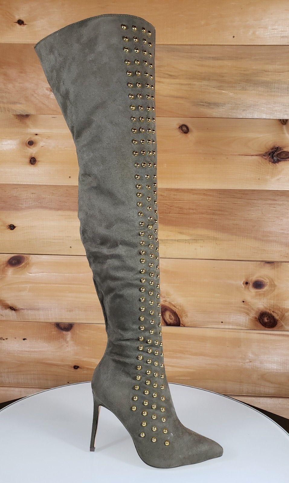988004baa948 So Me Olive Green Pointy Toe High Heel OTK Above Knee Boots Gold Stud Stripe
