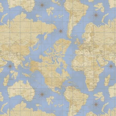 fabric quilting cottons novelties travel theory of aviation map multi