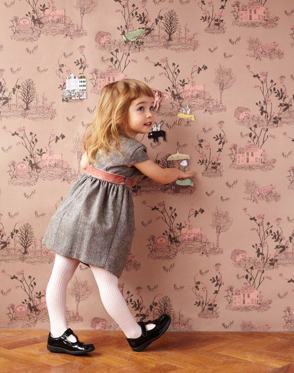 Magnetic Woodlands Wallpaper - Brown Pink