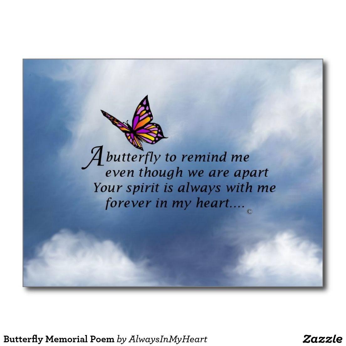 Butterfly Memorial Poem Postcard