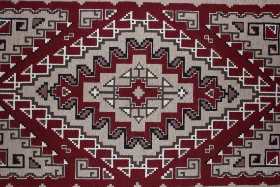 Weaving Wall Hanging Intricate Designed Navajo Ganado Two Gray