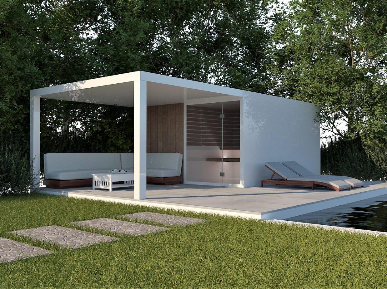 Ongebruikt Tuinhuis met sauna en terrasoverkapping in aluminium wit of zwart RA-67
